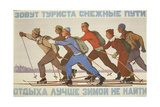 The Roads of Snow are Calling Out for the Sportsmen. The Best Winter Respite, 1957 Giclee Print by Vadim Petrovich Volikov