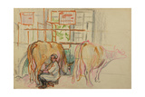 Milking the Cows, 1958 Giclee Print by Natalia Aleksandrovna Gippius