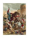 El Cid Threatening the City of Valencia Giclee Print by  Spanish School