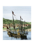 Spanish Ships in a Colonial Port Giclee Print