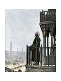 Islamic Muezzin Calling People to Prayer, 1800s Giclee Print