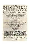 "Title Page of Walter Raleigh's Book ""The Discoverie of ...Guiana,"" London, 1596 Photographic Print"