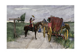 Highwayman Claude Duval Holding Up a Stagecoach on the Moors of England, 1600s Photographic Print
