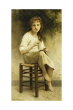 Idle Thoughts (Little Girl Sitting Embroidering); Vaines Pensees (Petite Fille Assise Brodant),… Giclee Print by William Adolphe Bouguereau
