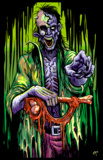 Zombie Stalker Flocked Blacklight Poster Poster