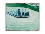 Ship and Lighthouse, c.1925 Giclee Print by Alfred Wallis