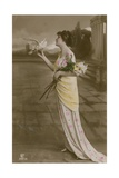 Postcard of a Beautiful Girl with Lilies and a Dove, Sent in 1913 Giclee Print by  German photographer