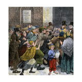 Giving Out Soup Tickets to the Unemployed on a Snowy Day in London, 1880s Giclee Print