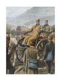 Serbian Army with their King Peter Moving Towards Durazzo Giclee Print by Tancredi Scarpelli