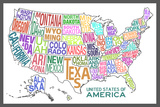 United States of America Stylized Text Map Colorful Poster Print