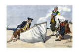 Pirates Around a Rowboat on An Island Photographic Print