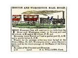 Ad for the Boston and Worcester Railroad, Early 1800s Giclee Print