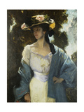 Portrait of Frances Josephine Furse, the Artist's Sister-In-Law Wearing a Blue Oriental Jacket,… Giclee Print by Charles Wellington Furse