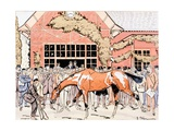 Viewing the Racehorse in the Paddock, c.1905 Giclee Print by E. Thelem