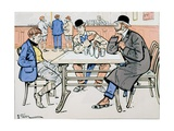 Jockey and Trainers in the Bar, c.1905 Giclee Print by E. Thelem