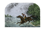 Slave Crossing the Ohio River on His Master's Horse, 1800s Photographic Print