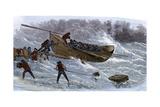 Life-Saving Service Launching a Lifeboat in Heavy Seas, New Jersey, 1870s Reprodukcja zdjęcia