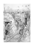 Warning in British Trench of Imminent German Poison Gas Attack, Western Front, 1915 Giclee Print by Frederic Villiers