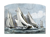 "Atlanta, ""Tidal Wave,"" and ""Mischief"" in An America's Cup Race Off Sandy Hook, NJ, 1881 Giclee Print"