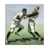 Brushing Off: Yale Football Players in a Practice Game, 1880s Giclee Print