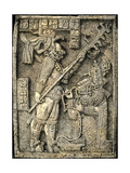 Mayan Bas-Relief of Lady Xoc, Kneeling Before Shield Jaguar, Yaxchilan Giclee Print