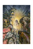 Three Kings Worshipping Infant Jesus in Bethleham Photographic Print