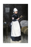A Red Cross Hospital nurse Pouring Medicine, Late 1800s Photographic Print
