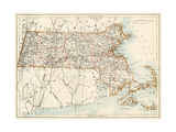 Map of Massachusetts, 1870s Giclee Print
