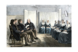 Shakers at a Singing Meeting, Lebanon, New York, 1870s Photographic Print