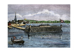 North Battery, Colonial Boston Harbor, 1700s Photographic Print
