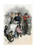 Children's Ward nurse with Her Patients at Bellevue Hospital, New York City, 1870s Giclee Print