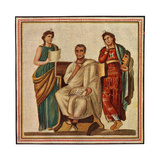 Virgil with the Goddessess Clio, Muse of History, and Melpomene, Muse of Tragedy Giclee Print