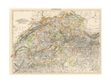 Map of Switzerland, 1870s Giclee Print