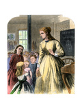 District Teacher in a One-Room School, Mid-1800s Giclee Print