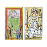Playing Cards of Moon (Left) and Justice (Right) From the Court of Charles VI, France, Circa 1400 Giclee Print