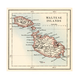 Map of the Maltese Islands, 1870s Giclee Print