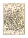 Map of Oxfordshire, Buckinghamshire, and Berkshire, England, 1870s Giclee Print
