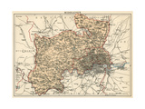 Map of Middlesex, England, 1870s Giclee Print