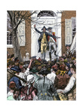 Alexander Hamilton Delaying a Patriotic Mob From Entering King's College, 1775 Giclee Print