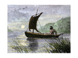 Prehistoric navigation with a Skin Sail Giclee Print
