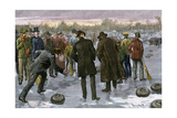 Curling Match on a Frozen Lake in Canada, 1880s Photographic Print