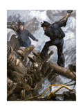 Sailors Cutting Away the Masts to Save Their Ship in a Storm, 1800s Giclee Print