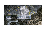Intense Meteor Shower Seen Over Niagara Falls in 1833 Photographic Print