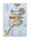 Map of Boston Showing Entrenchments of British Forces, 1775 Giclee Print