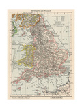 Map of England and Wales, 1870s Giclee Print