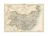 Map of Suffolk, England, 1870s Giclee Print