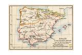 Map of the Iberian Peninsula Under the Moors, 11th Century Photographic Print