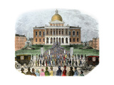 Crowds Leaving the Massachusetts State Capital, Boston, 1850s Giclee Print