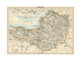 Map of Somerset, England, 1870s Giclee Print