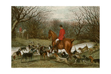 Huntsman with Foxhounds Tracking a Scent Across a Brook, England, 1800s Lámina fotográfica